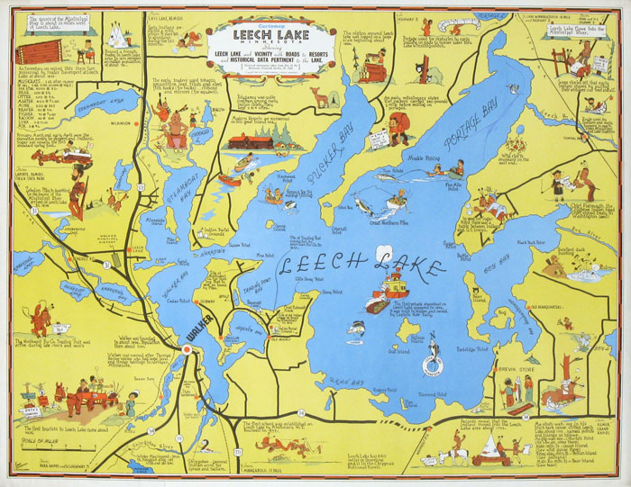 The pictorial maps of frank m antoncich for Leech lake fishing resorts