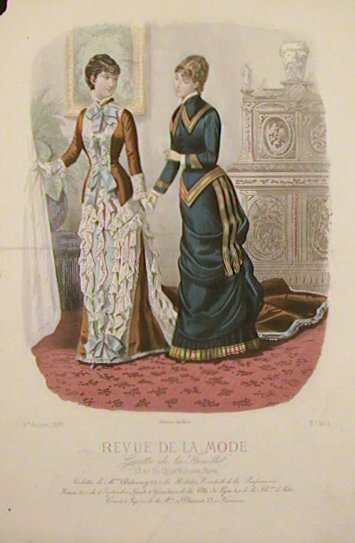 hand colored fashion engraving from revue de la mode gazette de la famille 1880 no 469. Black Bedroom Furniture Sets. Home Design Ideas