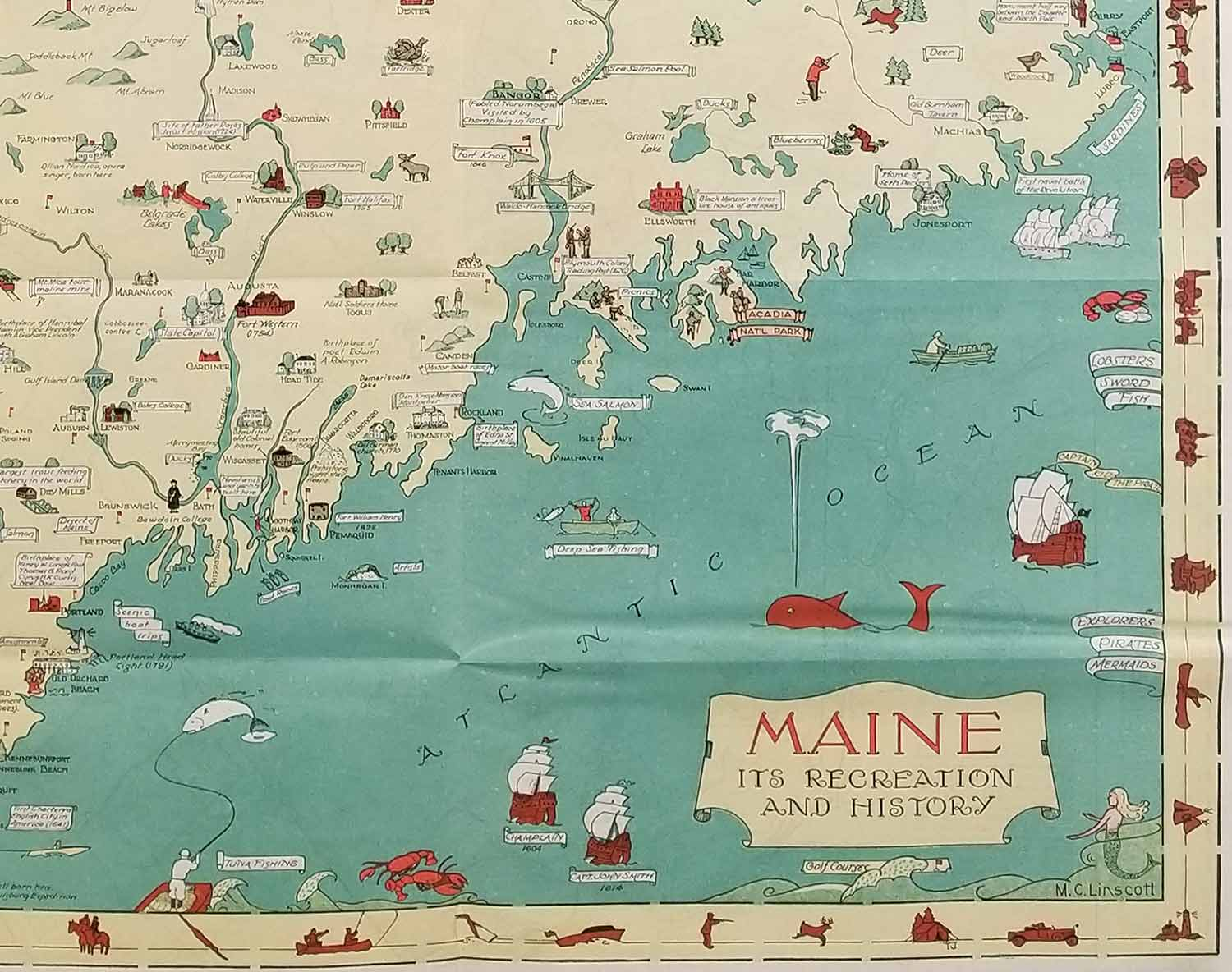 Old Maine Map.Route And Pictorial Map Of Maine Map Title Maine Its Recreation