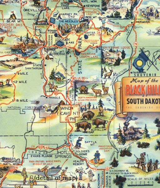 Map of the Black Hills of South Dakota The Sunshine State  SOUTH
