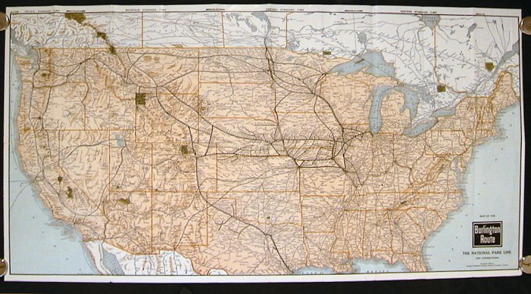 Burlington Route. United States Map and Vacation Guide. The National ...