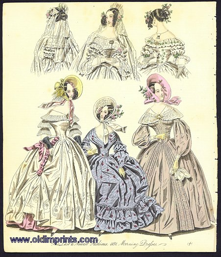 The Last & Newest Fashions. 1838. Morning Dresses