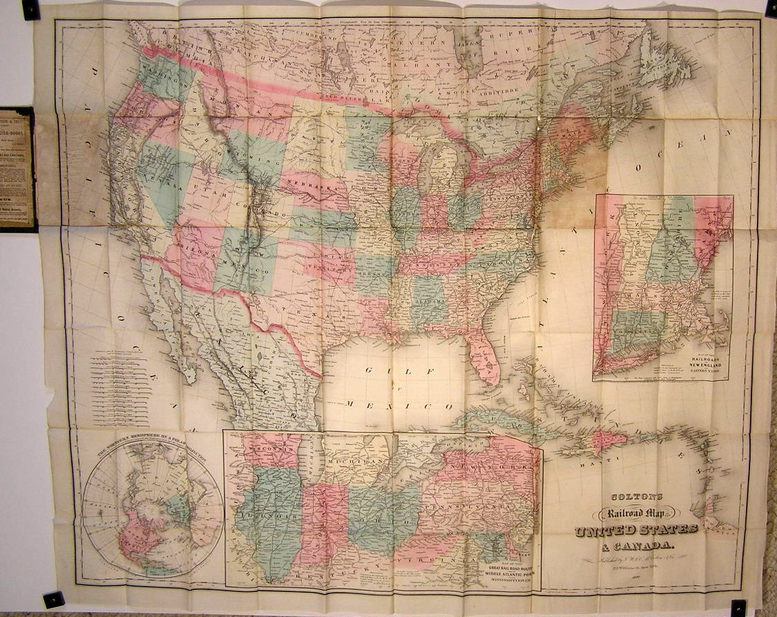 Coltons Railroad Map of the United States  Canada 1870  UNITED