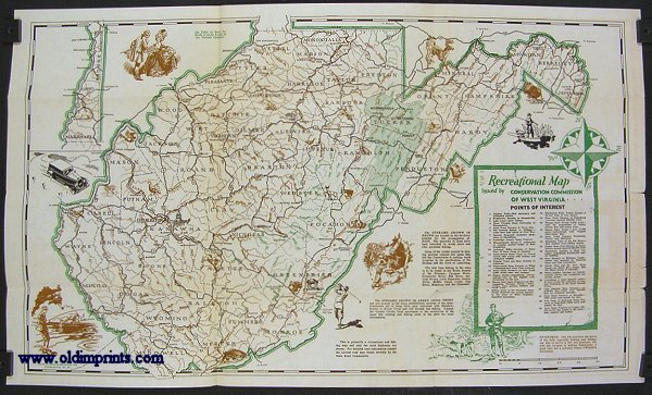 Recreational Guide of West Virginia Map title Recreational Map