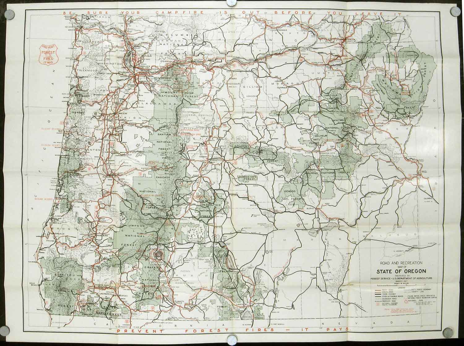 Road And Information Map For The National Forests Of Oregon US - Agriculture by state us map
