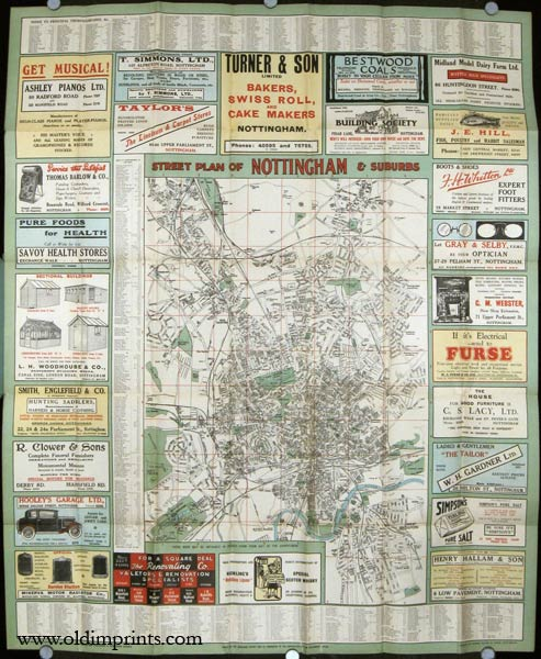 Hardings Guide Map to Nottingham Map title Street Plan of