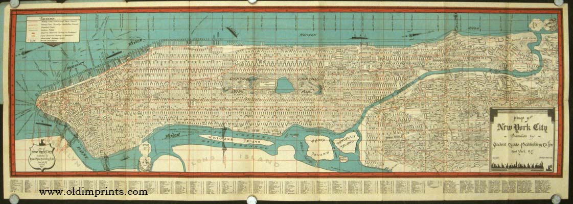 Map Guide New York City Showing Ferries House Numbers Hotels - Map of new york city streets