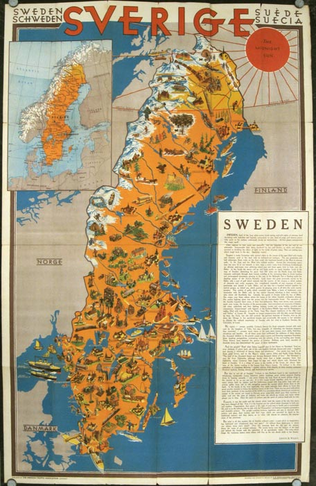 Sweden Map Title Sverige Sweden Schweden Suede Suecia The - Sweden full map