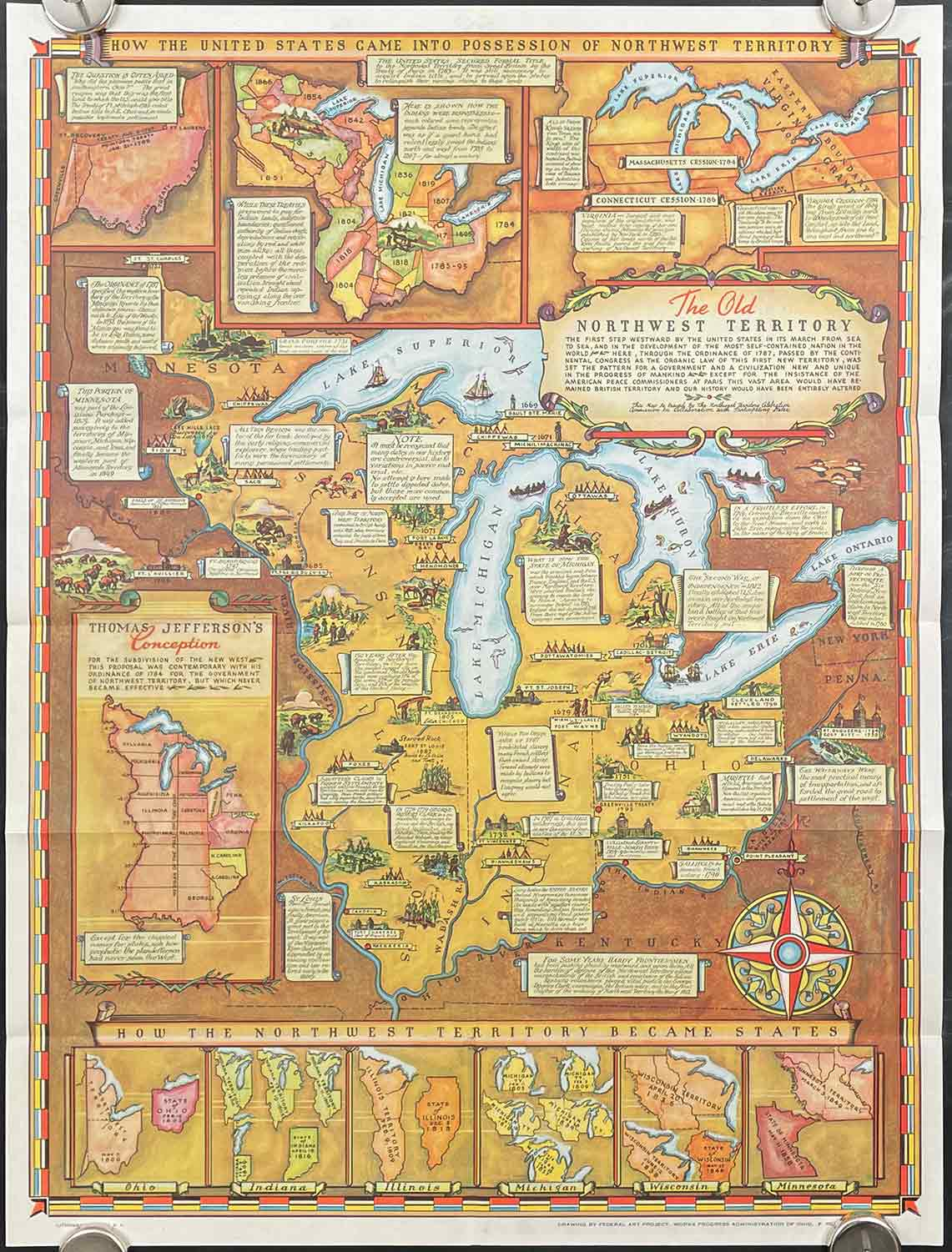 Historical Map of the Old Northwest Territory. Map title: The Old ...