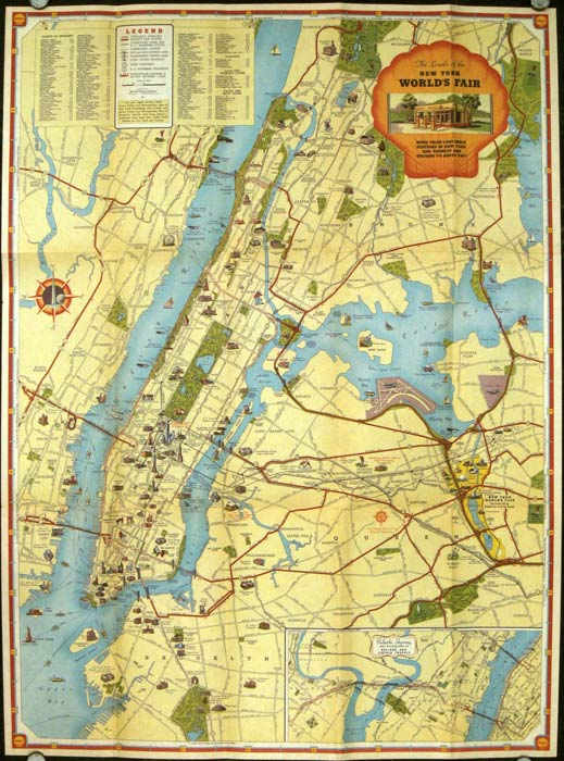 shell map of new york worlds fair with pictorial road map of metropolitan new york