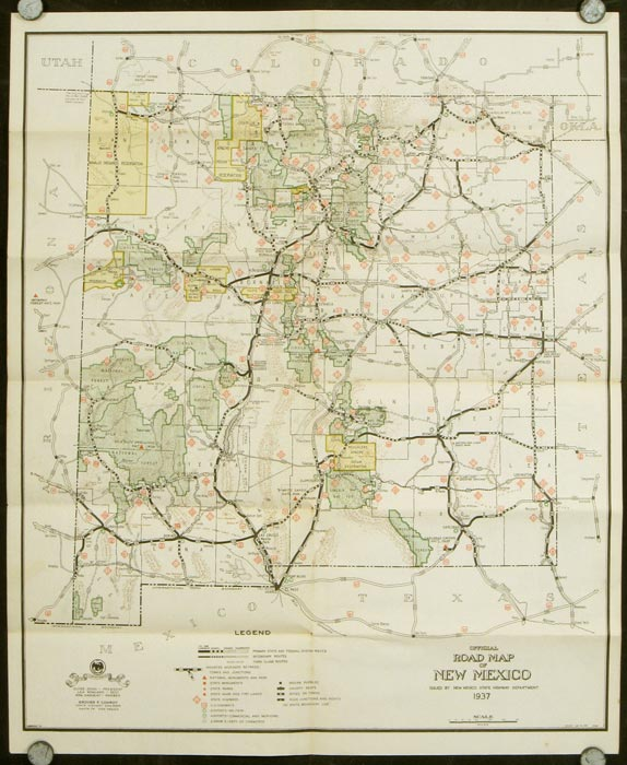 Official Road Map of New Mexico Land of Enchantment 1937