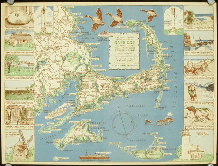 Decorative Map of Cape Cod The Reaches of the Cape  Nantucket