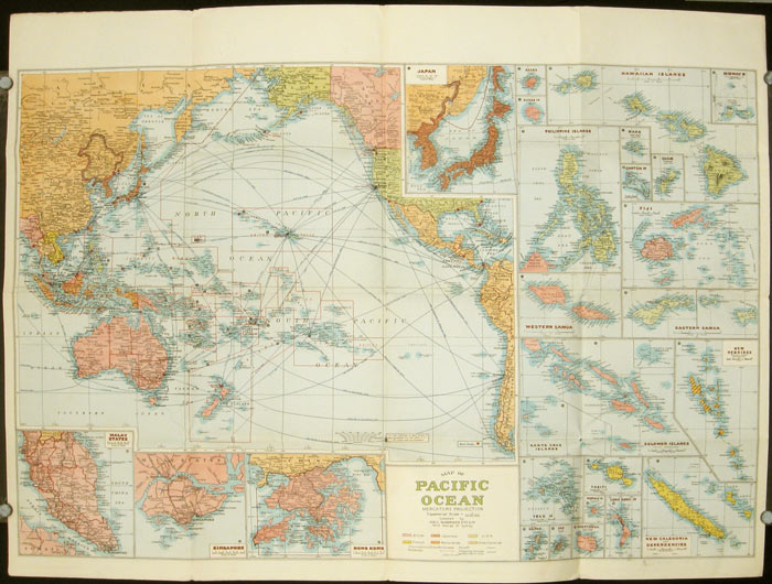 Pacific Ocean. Robinsons New Map Of The Pacific Ocean With Insets Showing  Island Groups In