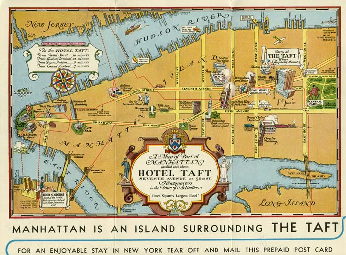 hotel taft new york map title a map of part of manhattan around and