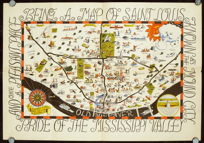 Cartoon Map of St. Louis. Map title: Being a Map of Saint Louis ...