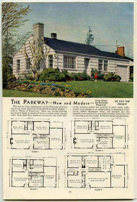 Aladdin Readi Cut Homes Not Prefabricated 1950s HOUSE PLANS 47th