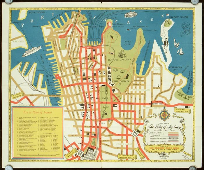 Sydney Tourist Map Map title Guide Map of The City of Sydney – Tourist Map of Sydney