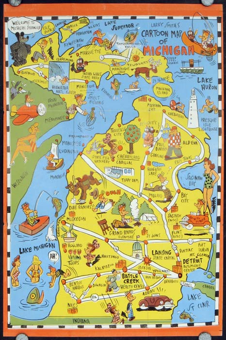 Fun Map Michigan The Upper Peninsula Map title Larry Smiths