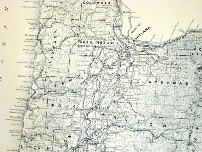 Map of State of Oregon Showing State Highway System OREGON