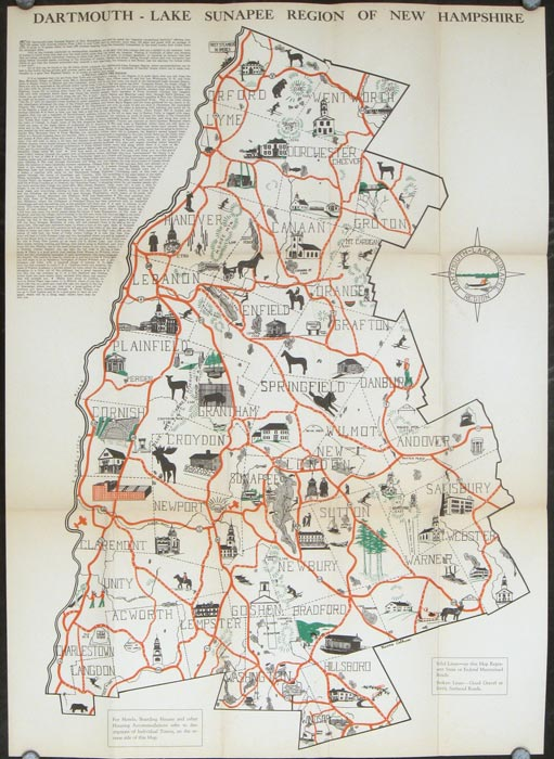 Illustrated Map of the Dartmouth Lake Sunapee Region of New ...