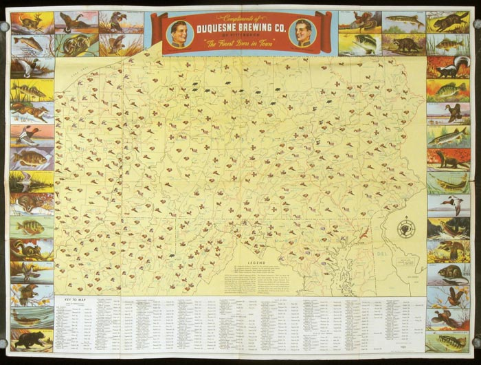 Duquesne hunting and fishing map pennsylvania game map for Pa game and fish