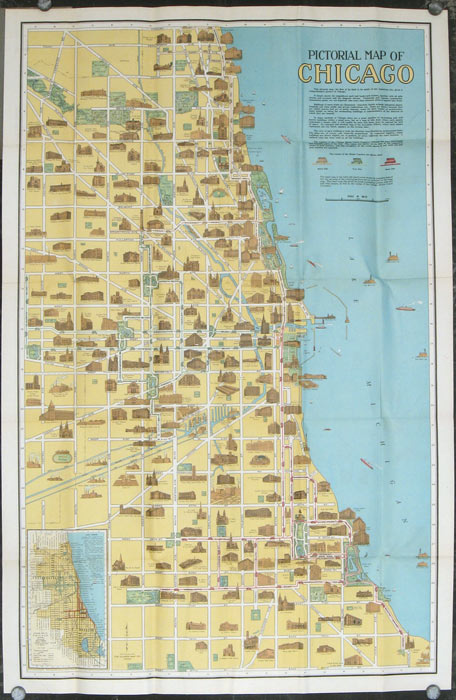 Pictorial Map Of Chicago Pictorial Map Of Downtown Chicago - Ill map