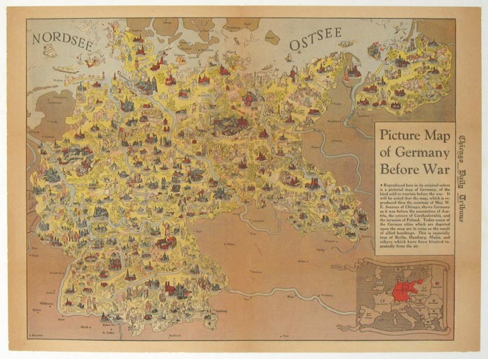 Picture Map Of Germany Before War Published In The Chicago Daily - Germany map 1945