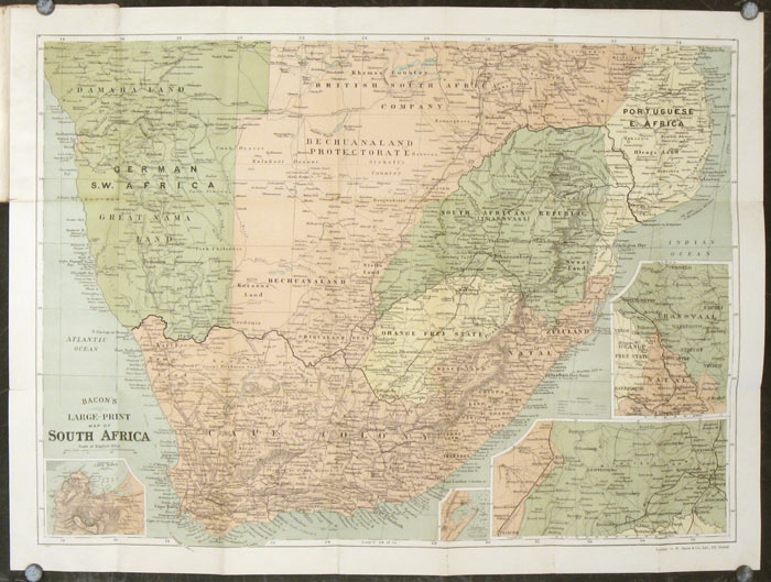 Bacons LargePrint UptoDate Map of Transvall Cape Colony c