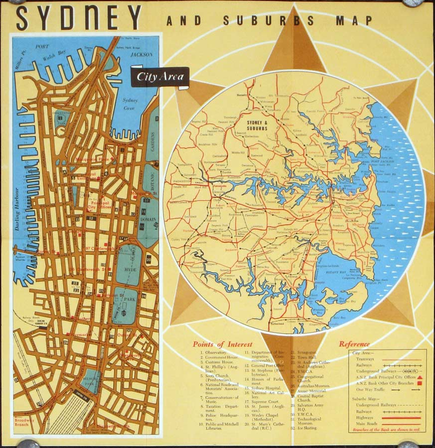 Sydney and Suburbs Map Cover title Travellers Guide to Sydney