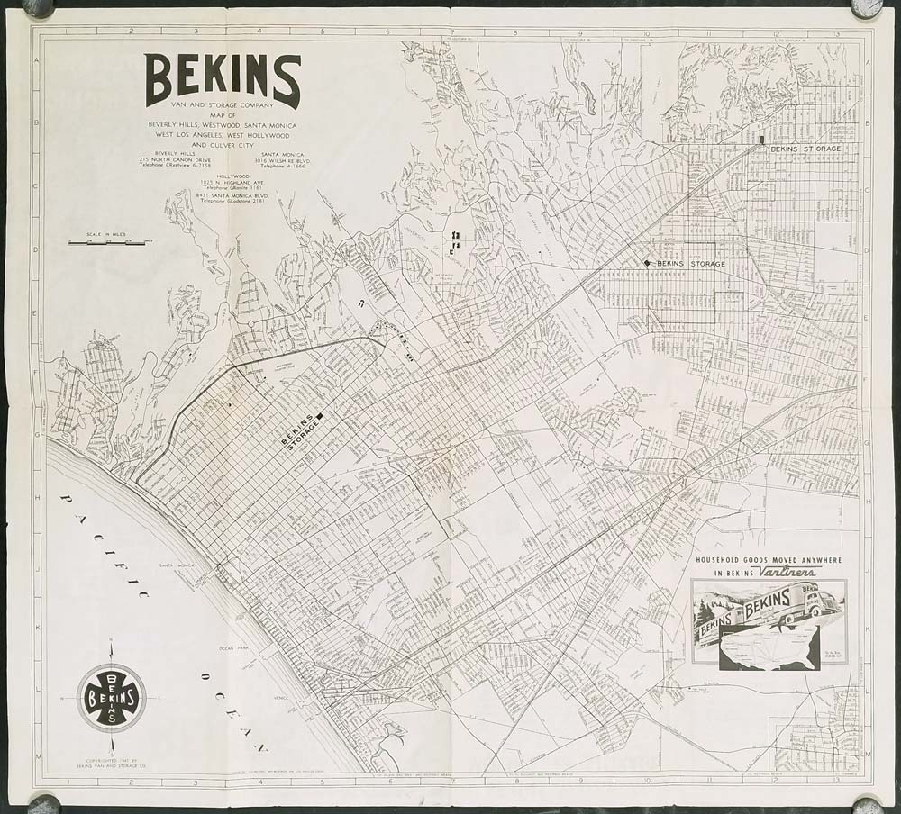 Bekins Van and Storage Company Map of Beverly Hills Westwood Santa