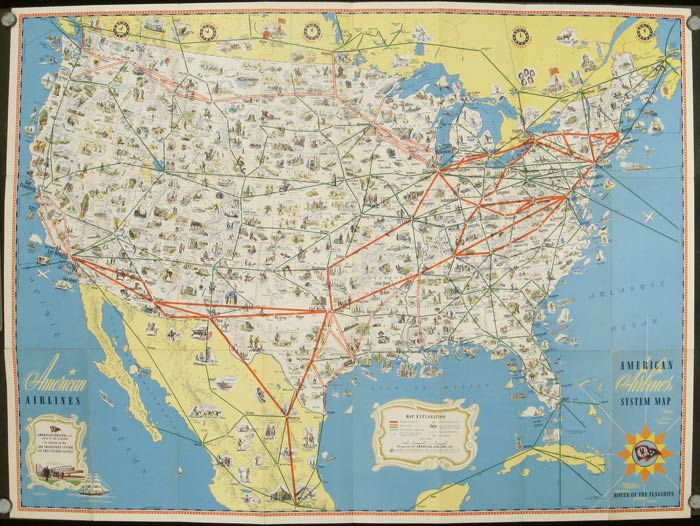 American Airlines System Map. Route of the Flagships. UNITED STATES - AIRLINES - AMERICAN.