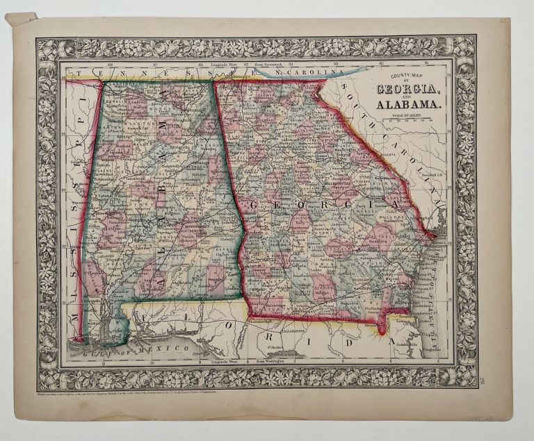 County Map of Georgia, and Alabama. ALABAMA / GEORGIA.
