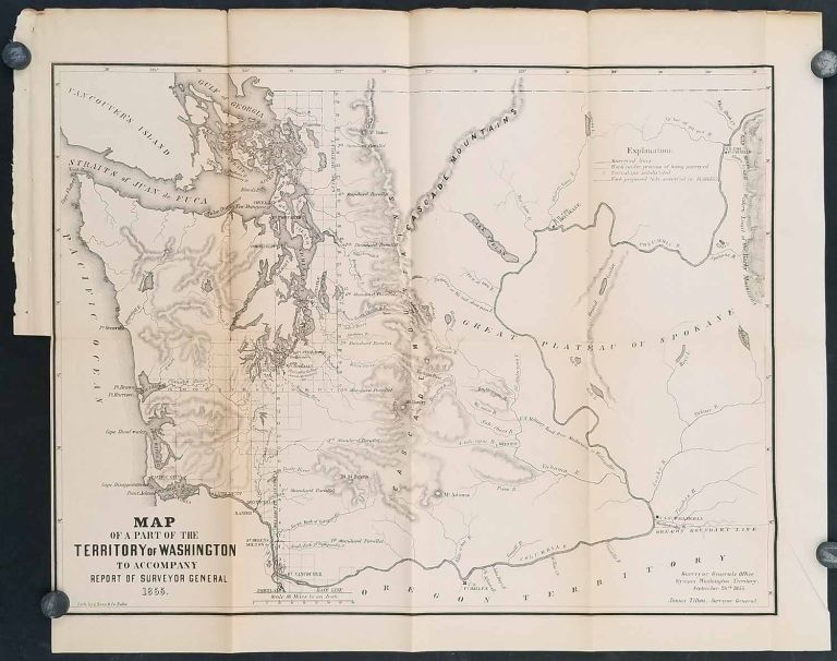 Map of a Part of the Territory of Washington to Accompany Report of Surveyor General 1855. WASHINGTON TERRITORY 1855.