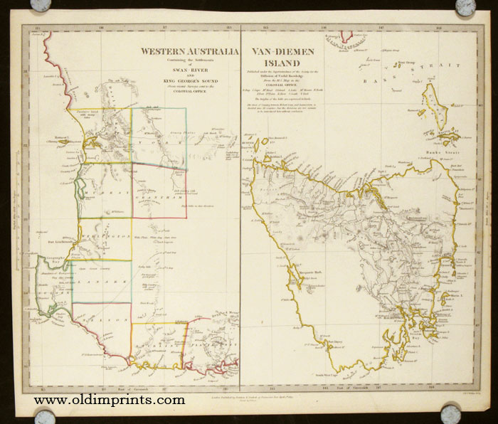 Western Australia Containing the Settlement of Swan - River and King George's Sound. Van - Diemen Island. AUSTRALIA - WESTERN AUSTRALIA / TASMANIA.