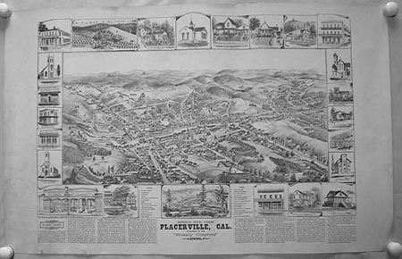 """Bird's Eye View Placerville, Cal. Published by the """"Weekly Observer"""" 1888. CALIFORNIA - BIRD'S EYE VIEW."""