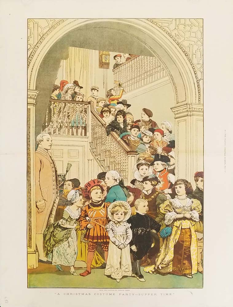 A Christmas Costume Party -- Supper Time. CHRISTMAS CHILDREN COLOR WOOD ENGRAVING.