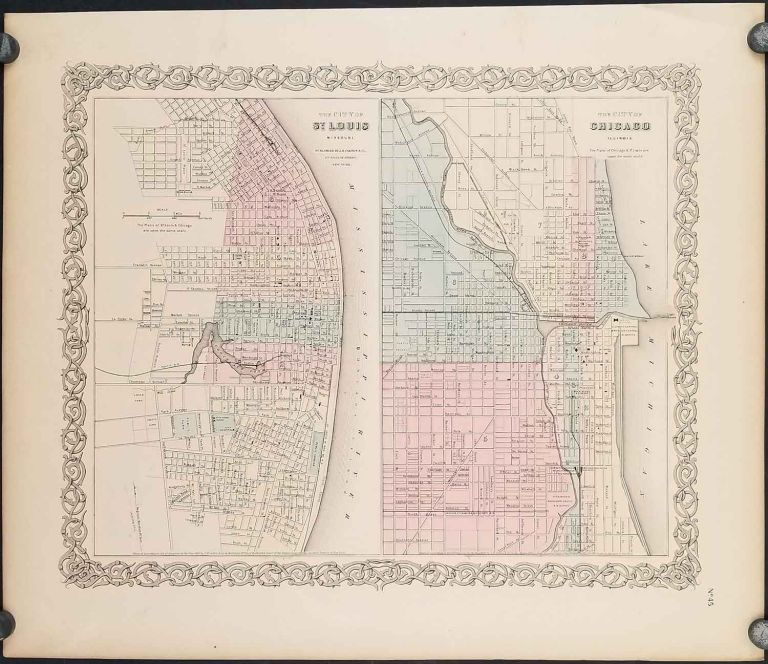 The City of St. Louis Missouri. The City of Chicago Illinois. ILLINOIS - CHICAGO / MISSOURI - ST LOUIS - CITY PLANS.