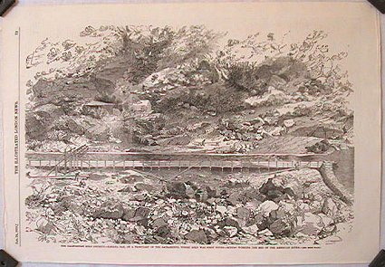 The California Gold District.--Kanaha Bar, on a Tribuatary of the Sacramento, where Gold was First Found.--Miners Working the Bed of the American River. CALIFORNIA - GOLD MINING.