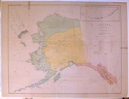 Map of Alaska and Adjoining Regions compiled by Ivan Petroff Special Agent Tenth Census 1880. Showing the Distribution of Native Tribes. ALASKA.
