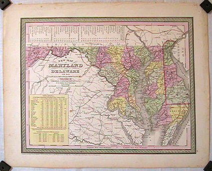 A New Map of Maryland and Delaware with their Canals, Roads & Distances. MARYLAND - DELAWARE - COWPERTHWAIT.