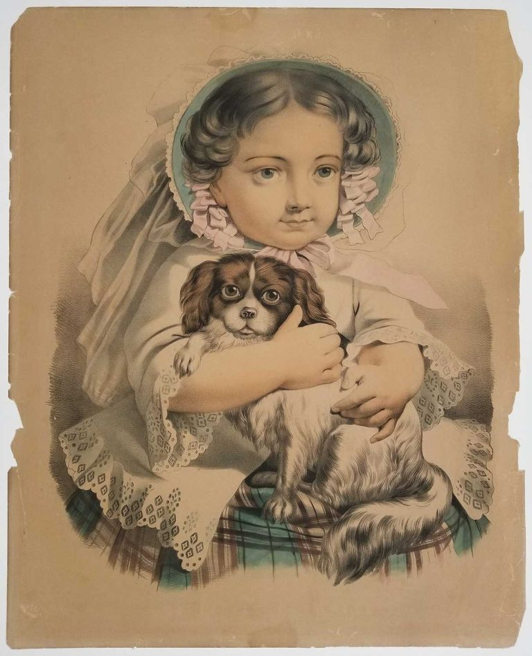My Little Favorite. [LARGE CURRIER IVES LITHOGRAPH]. CURRIER, IVES - GIRL WITH DOG.