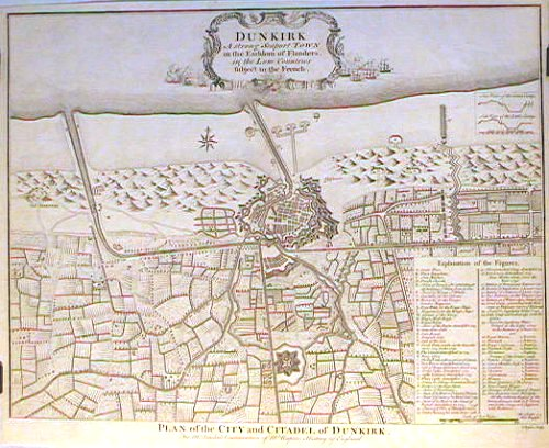 Dunkirk. A strong Seaport Town in the Earldom of Flanders, in the Low Countries subject to the French. Plan of the City and Citadel of Dunkirk. FRANCE - DUNKIRK.
