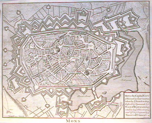 Mons. Mons the Capital City of Hainault in y Low Countries, taken by y French in 1691, Restor'd to y Spaniards by y Peace of Ryswick in 1697, retaken by y Allies in 1709, and left to y Emperor by y Treaty of Utrecht. BELGIUM - MONS.