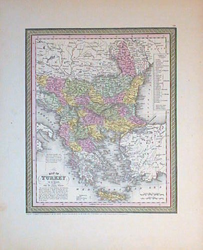 Map of Turkey in Europe. Together with the Ionian Islands. BALKANS.