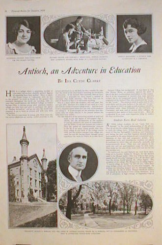 Antioch, an Adventure in Education. OHIO - ANTIOCH COLLEGE, Ida Clyde Clarke.