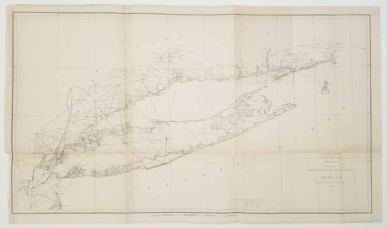 Sketch B. No. 2. Showing the Triangulation & Geographical Positions in Section No. II. From New York City to Point Judith. NEW YORK - LONG ISLAND - U. S. COAST SURVEY.