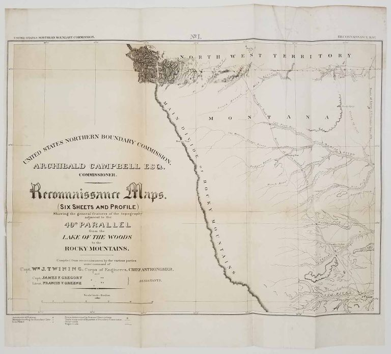 United States Northern Boundary Commission. Reconnaissance Maps . (Six sheets and Profile) Showing the general features of the topography adjacent to the 49th. parallel from the Lake of the Woods to the Rocky Mountains. MONTANA / DAKOTAS / MINNESOTA, Capt. W. J. Twining, Capt. James F. Gregory, Lieut. Francis V. Greene.