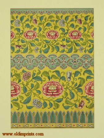 """Chromolithograph Chinese Decorative Design. Plate 53. [From """"Examples of Chinese Ornament"""" 1867.]. CHINESE ORNAMENT."""