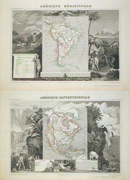 Amerique Septentrionale TOGETHER WITH Amerique Meridionale. (North America & South America). NORTH AMERICA - TEXAS AS A. REPUBLIC / SOUTH AMERICA.
