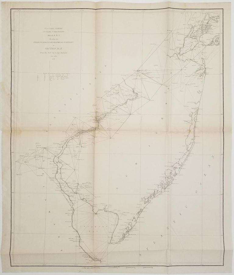 Sketch B No. 3 Showing the Triangulation & Geographical Position in Section No. II From New York City to Cape Henlopen. NEW JERSEY - COASTAL SURVEY.